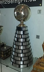 A trophy with a large silver ball on the top. The base has silver plates attached to it, engraved with the names of previous winners.