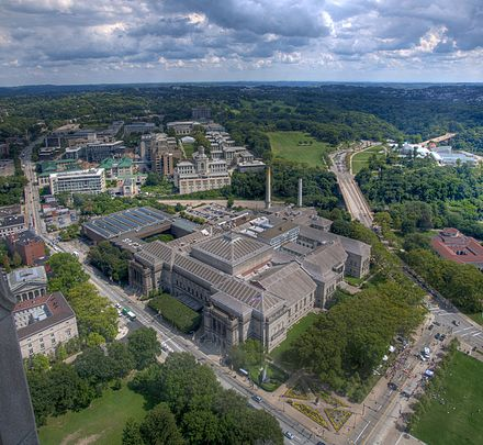 The Carnegie Library, Museums of Art and Natural History (foreground), Carnegie Mellon University (background) CMU from 36th floor.jpg