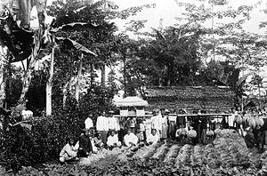 Upacara untuk Dewi Sri (mapag Sri) pada saat panen diKarang Tengah, Tuntang, Semarang(sekitar 1910)
