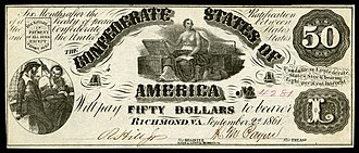 Moneta - Moneta depicted with treasure chests on the front of an 1861 Confederate States of America $50 banknote.