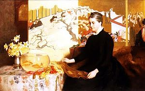 James Cadenhead - Lady with Japanese Screen and Goldfish (1886)