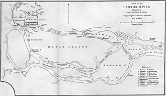 "Guangzhou - Guangzhou (""Canton"") and the surrounding islands of Henan (""Hanan""), Pazhou (""Whampoa""), Changzhou (""Dane's Island""), and Xiaoguwei (""French Island"") during the First Opium War's Second Battle of Canton. The large East Indiamen of the Canton trade used the anchorage sheltered by these four islands, but the village and island of Huangpu for which it was named make up no part of present-day Guangzhou's Huangpu District."