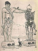 """Para el caricaturista, """"Madero se anda por las ramas"""", sin resolver ningún conflicto, encima de él se levanta el zapatismo sumamente violento y acompañado de la muerte y la desolación."""