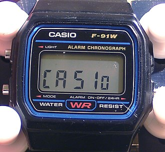 "Casio F-91W - Pressing the right hand button for 3 seconds in the main timekeeping mode leads the display to read ""CASIo"" which is useful to spot a counterfeit (applicable for newer models of the F-91W and its variants)"