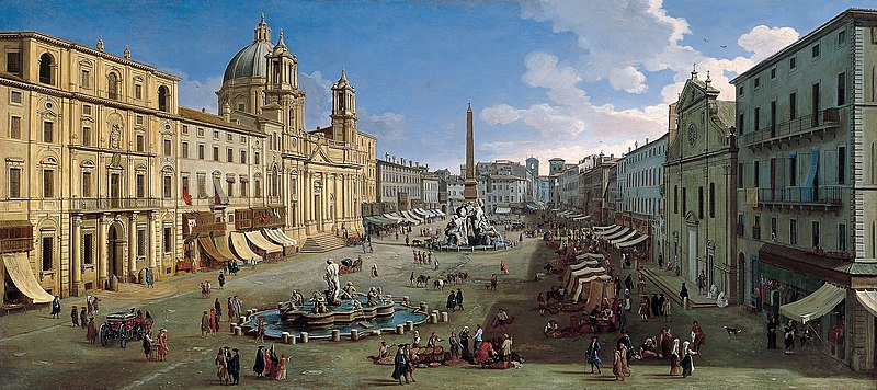 Piazza Navona à Rome en 1699, peinture de Gaspar van Wittel.