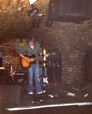 Soundcheck - Dublin musician Rob Smith doing a soundcheck in the Cavern Club, Liverpool in 2006.