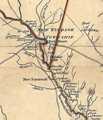 Savannah Town, South Carolina - Central Savannah River in 1775 showing Augusta, Fort Moore / Savannah Town, New Savannah, and bounds of New Windsor Township