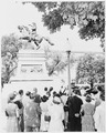 Ceremony in front of an equestrian statue of Jose de San Martin, Washington, DC. - NARA - 199869.tif
