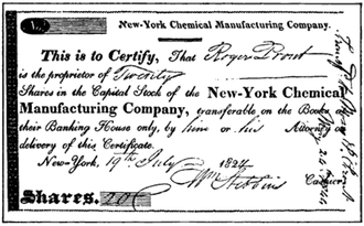 Chemical Bank - Certificate of Stock of the Chemical Manufacturing Company, ca. 1824