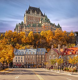 View of Old Quebec from Lower Town. Château Frontenac is visible at the top