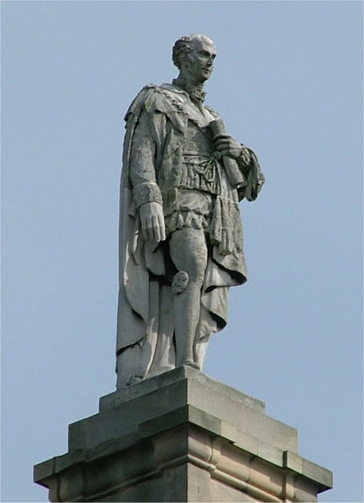 Charles Grey - 2nd Earl Grey - atop the Grey Momument - Newcastle upon Tyne - England - 140804