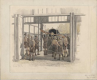 Aircraft engine starting - A 1918 sketch of ground crew receiving instruction on hand starting