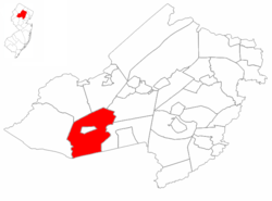 Chester Township highlighted in Morris County. Inset map: Morris County highlighted in the State of New Jersey.