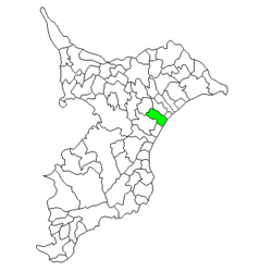Location of Narutō in Chiba Prefecture
