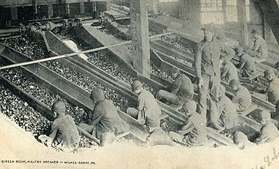 Children working in Wilkes-Barre's coal industry (1906) Child Labor in United States, coal mines Pennsylvania.jpg