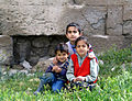 Children near Seljuk karavanserai, Agzikarahan, Turkey wza.JPG