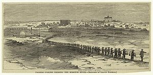 History of Chinese Americans - Chinese Coolies Crossing the Missouri River, 1870