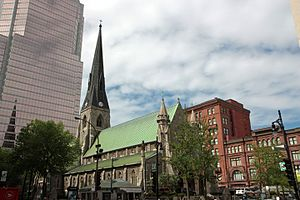 Christ Church Cathedral (Montreal) - Christ Church Cathedral, with the Tour KPMG office tower in the background.