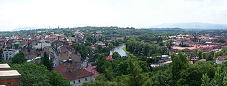 Cieszyn - Divided town: Cieszyn (left), Olza River (centre) and Český Těšín (right)