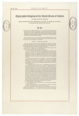 Eerste pagina van de Civil Rights Act.