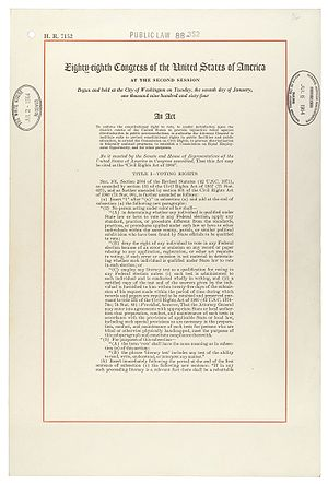 United States presidential election, 1964 - First page of the Civil Rights Act of 1964