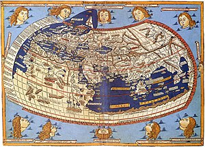 Cartography - A medieval depiction of the Ecumene (1482, Johannes Schnitzer, engraver), constructed after the coordinates in Ptolemy's Geography and using his second map projection. The translation into Latin and dissemination of Geography in Europe, in the beginning of the 15th century, marked the rebirth of scientific cartography, after more than a millennium of stagnation.