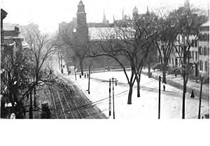 Clinton Avenue Historic District (Albany, New York) - Clinton Square in 1913 looking south towards the First Church in Albany (Reformed).
