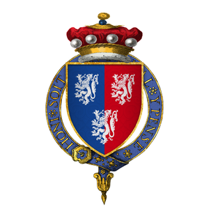 William Herbert, 1st Earl of Pembroke (died 1469) - Arms of Sir William Herbert, 1st Baron Herbert, at the time of his installation in the Most Noble Order of the Garter: Per pale azure and gules, three lions rampant argent