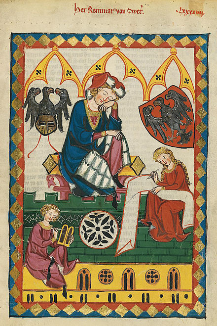 Herr Reinmar von Zweter, a 13th-century Minnesinger, was depicted with his noble arms in Codex Manesse.