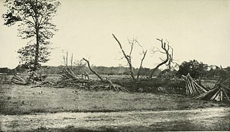 Battle of Cold Harbor - Makeshift Confederate breastworks at the extreme left of their line