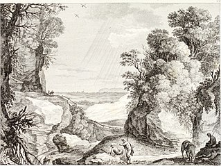 A mountainous landscape with a rock covered with trees