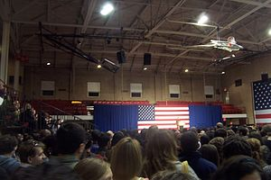 College Avenue Gymnasium - The College Avenue Gymnasium interior during a 2009 political campaign rally