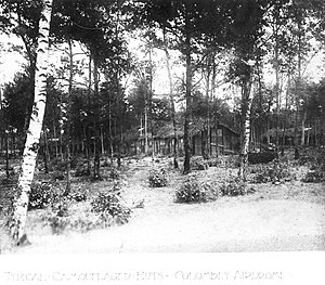 Colombey-les-Belles Aerodrome - Camouflaged buildings of the 1st Air Depot built in the woods west of the town.