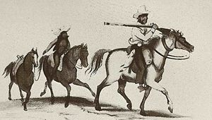 South African Wars (1879–1915) - Sketch of unknown soldier.  Southern African militiaman - possibly Cape Colony Khoi khoi or Boer - with an after-rider and two horses in support.