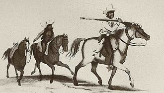 South African Wars (1879–1915) - Sketch of unknown soldier.  Southern African militiaman – possibly Cape Colony Khoi khoi or Boer – with an after-rider and two horses in support.