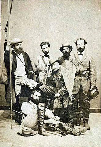 Marcos Jiménez de la Espada - Members of the Scientific Commission of the Pacific (Marcos Jiménez de la Espada sitting on the floor) c. 1862–1865.