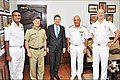 Commander Jeff Hutchinson, Commanding Officer HMCS Winnipeg, and embassy officials calling on Rear Admiral S Mahindru, Flag Officer Maharashtra Naval Area.jpg