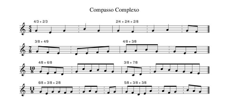 Pauta demonstrando compassos complexos.