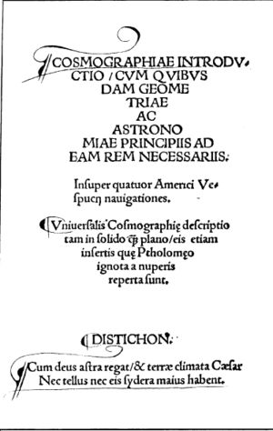 Cosmographiae Introductio - Title page of Cosmographiae Introductio