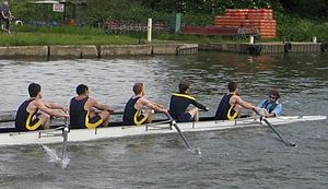 Coxswain (rowing) - Coxswain (right) with Stroke 7th 6th 5th and 4th position rowers, at Summer Eights in Oxford