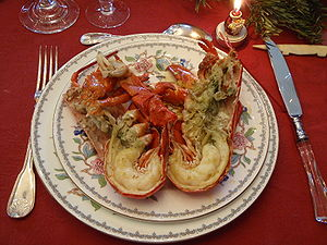 Crab served. Christmas dinner.