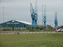 Cranes and Sheds at Queen Alexandra Dock - geograph.org.uk - 1375866.jpg