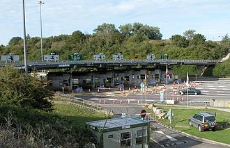 Severn Bridge - The westbound carriageway toll collection area on the M48 motorway