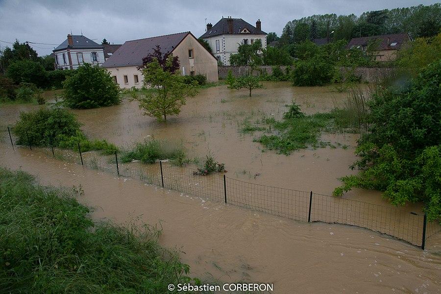 Inondations causées par la crue de l'Yonne à Villeneuve-sur-Yonne, le 30 mai 2016.