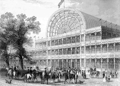 The Crystal Palace, 1851, was one of the first buildings to have cast plate glass windows supported by a cast-iron frame