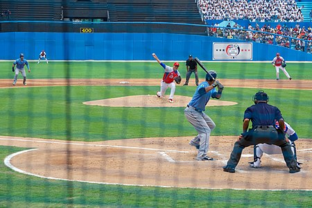 Cuban National Baseball Team Pitcher Throws Pitch at Exhibition Game Attended by President Obama, Secretary Kerry in Havana, Cuba (25999273875).jpg