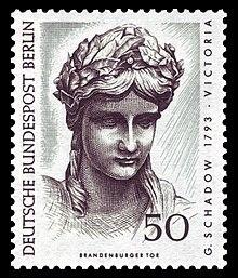 Detail der Quadriga: Kopf der Victoria, Berliner Sonderbriefmarke von 1967 (Quelle: Wikimedia)