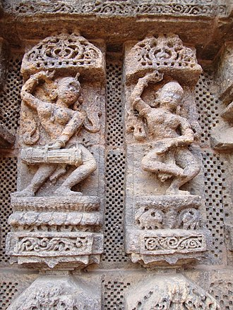 Odissi - Musician and dancer relief at the Konark Sun temple.