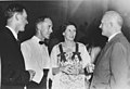 Dave Laughton, Ted Hill, Eleanor Hill, Sir Edward Beetham, Governor of Trinidad & Tobago, 1957.jpg