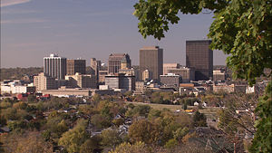 Dayton metropolitan area - City of Dayton skyline from Woodland Cemetery and Arboretum
